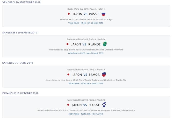 calendrier des matchs du japon - coupe du monde de rugby 2019